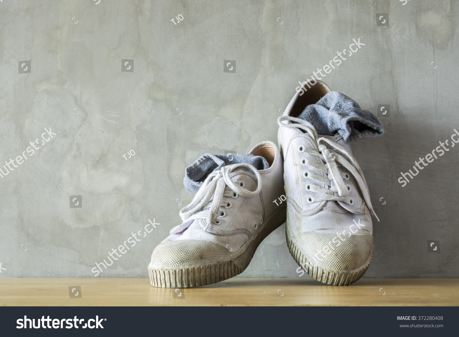 Pair Old Used White Sneakers Gray Stock