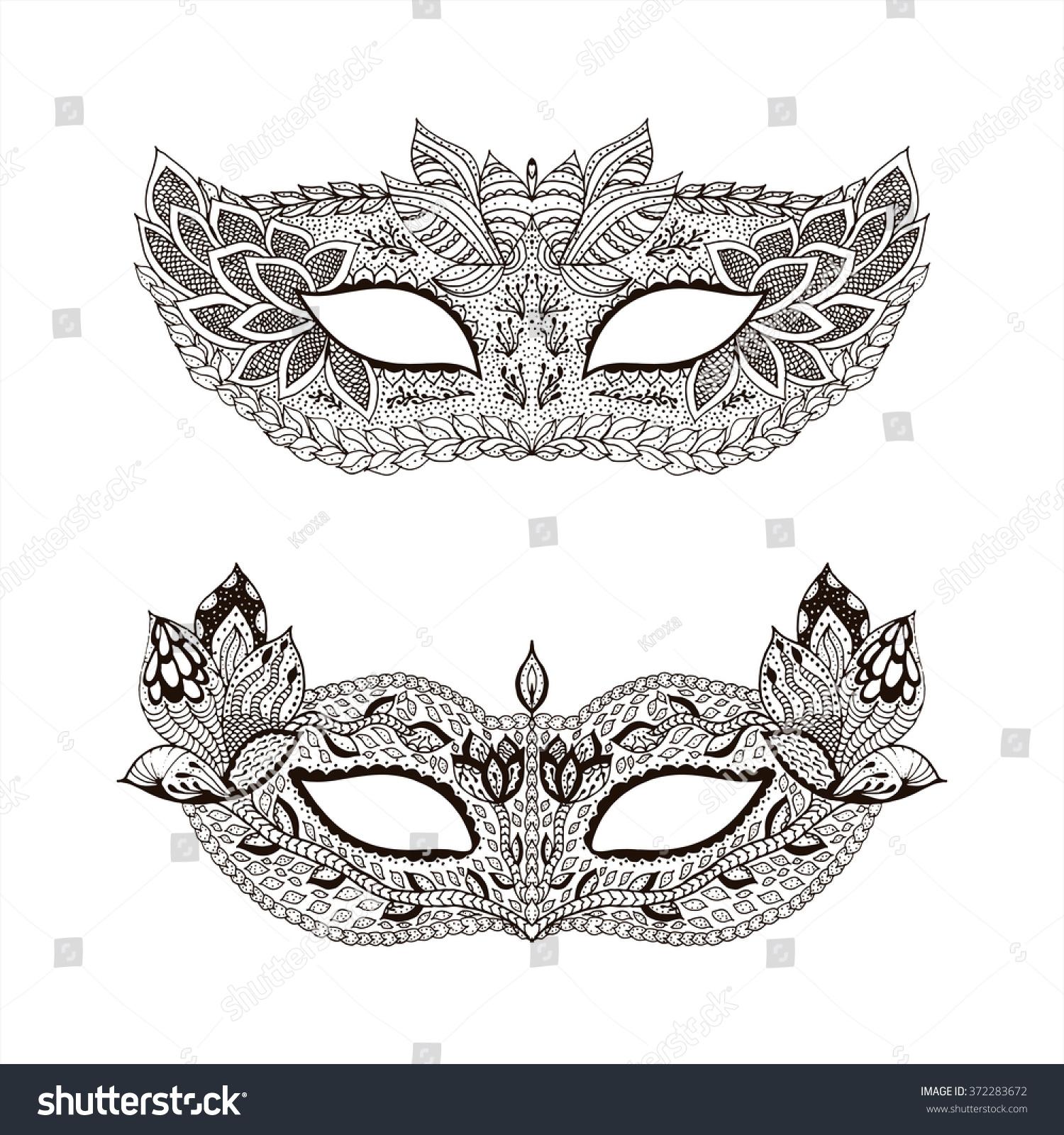 lace mask mardi gras henna paisley stock vector 372283672