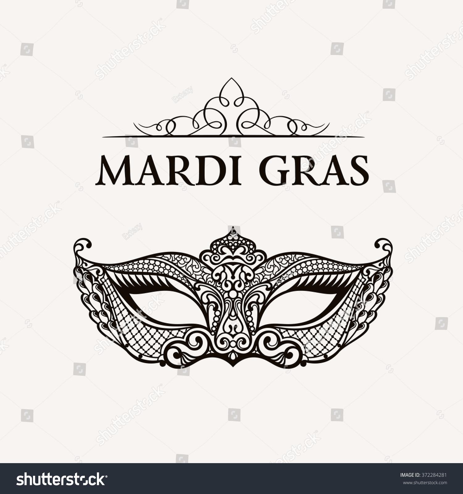beautiful mask lace symbol mardi gras stock vector 372284281