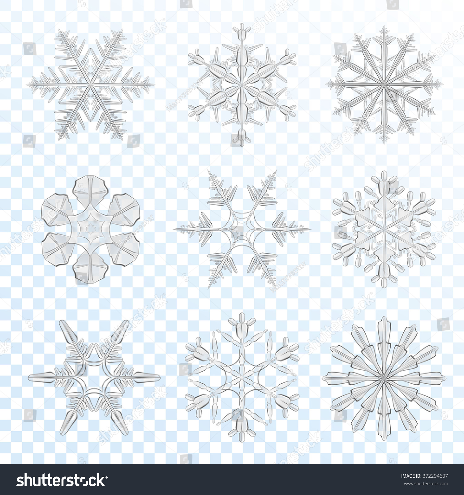 Realistic grey icy snowflakes set isolated on transparent