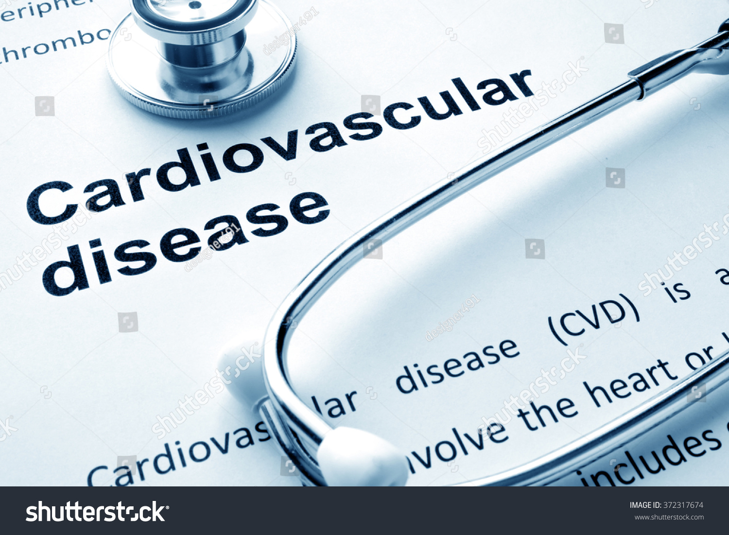 paper words cardiovascular diseases stethoscope stock photo (edit