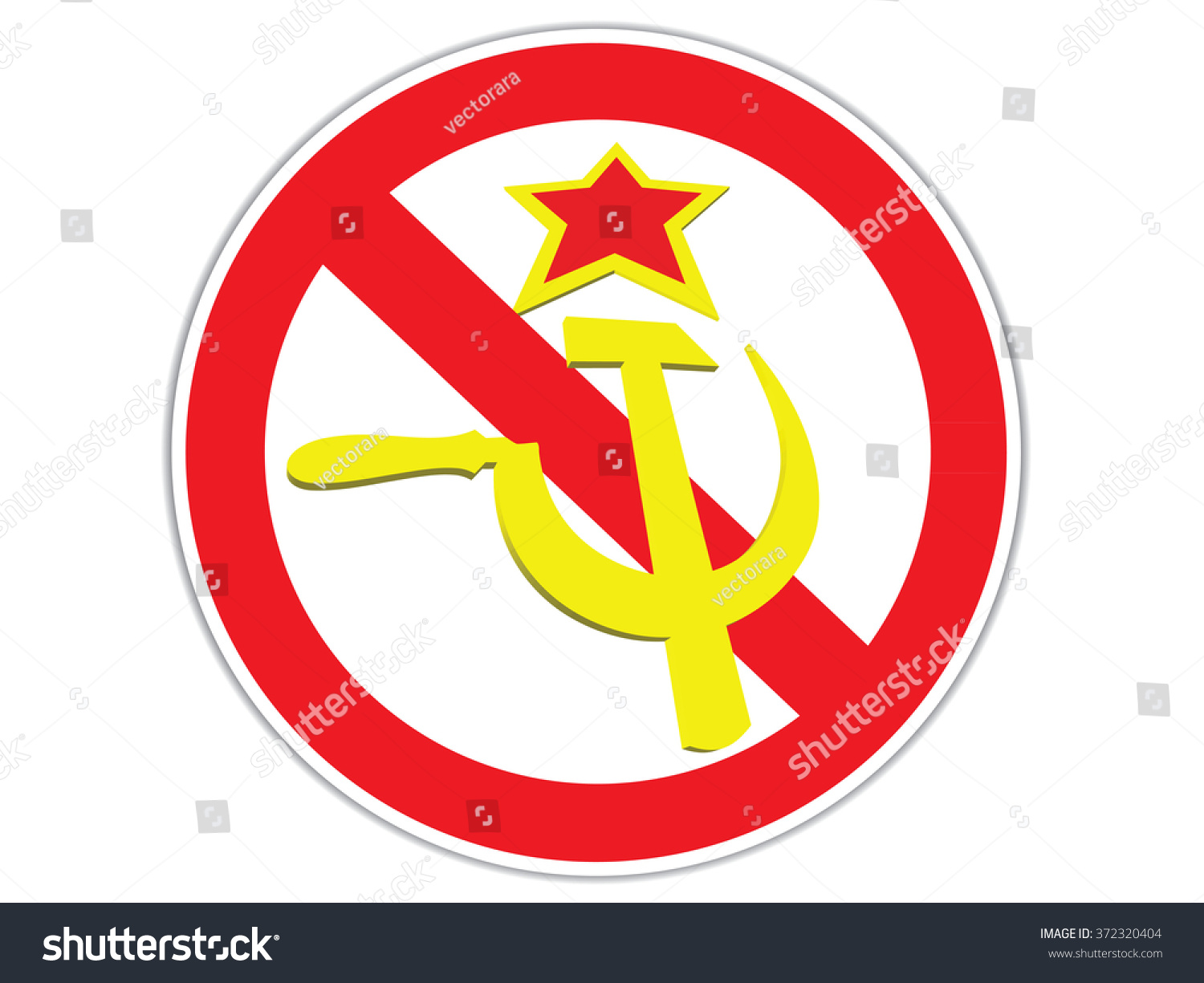 Crossed Out Symbol Ussr Hammer Sickle Stock Vector Royalty Free