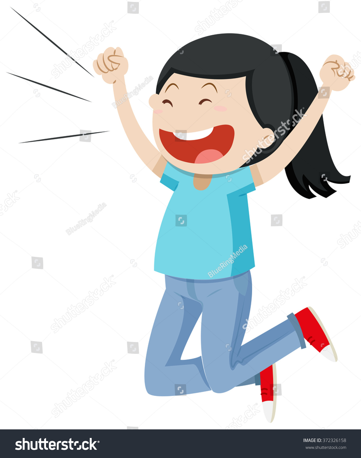 Girl Jumping Excitement Illustration Stock Vector ...