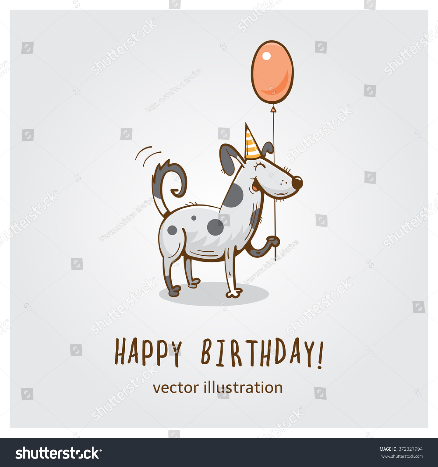 Birthday Card With Cartoon Funny Dog And Red Balloon Vector Illustration