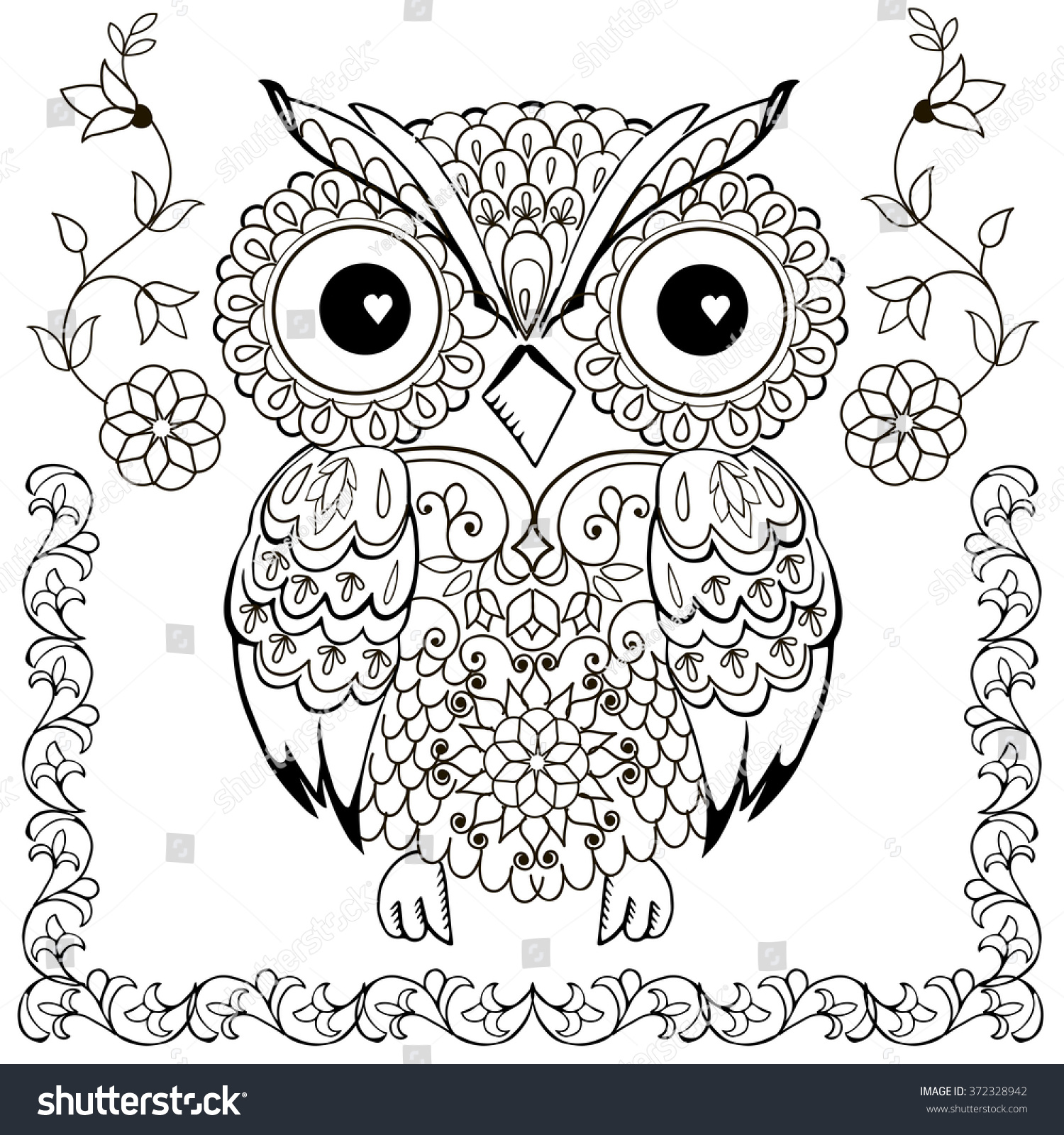 anti stress coloring pages owls - photo#20