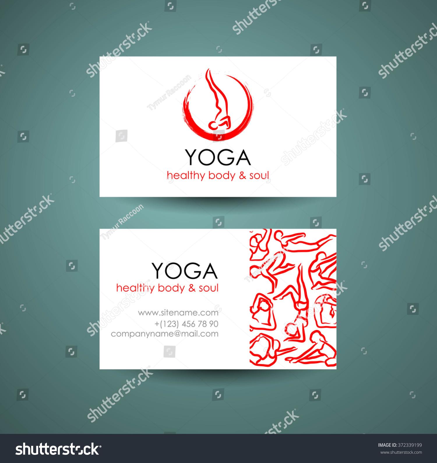 Yoga Position Logo Template Business Card Stock Vector