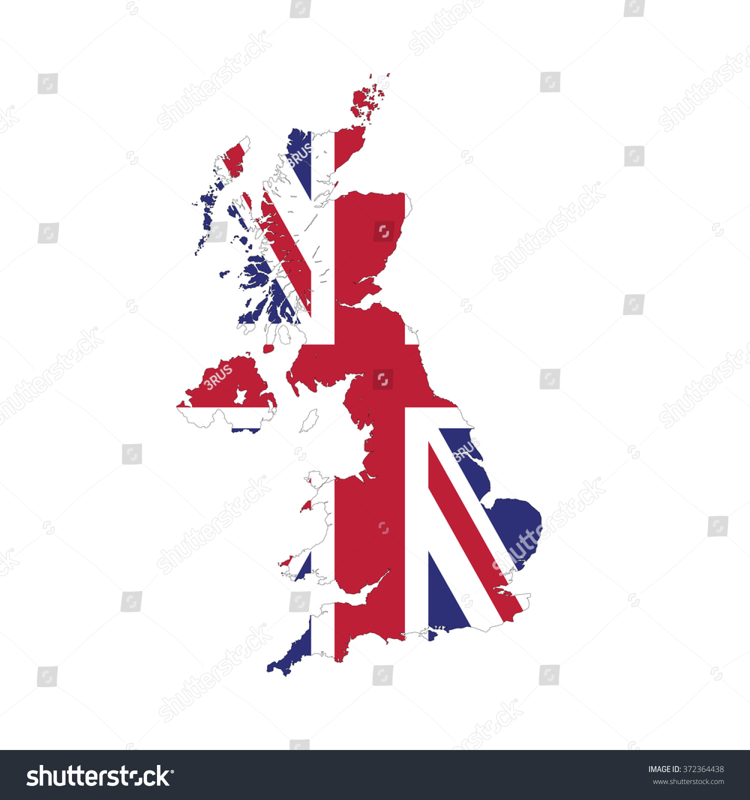 uk border outline map isolated on stock vector 372364438