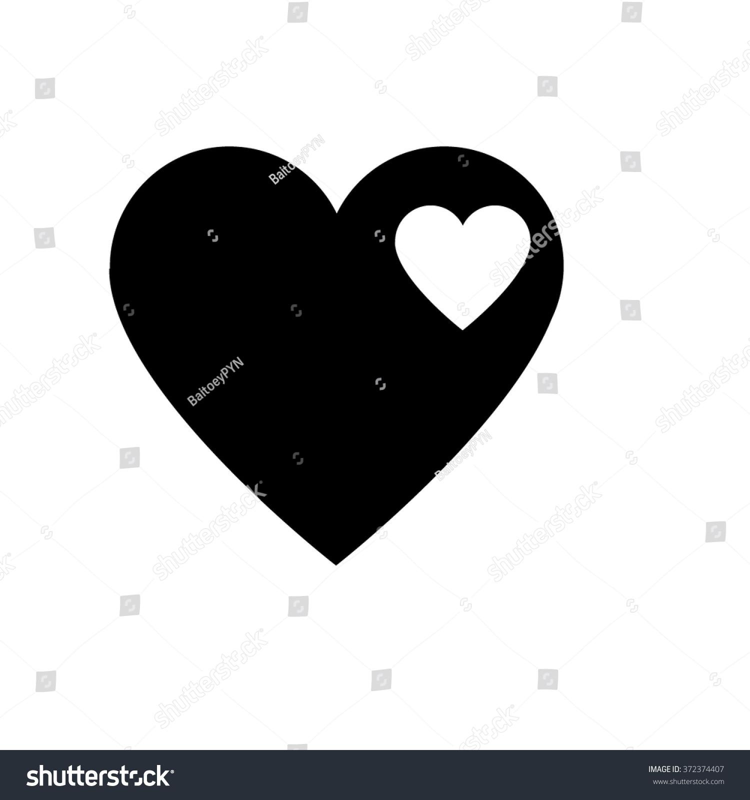 White Small Heart Black Hearts Symbol Stock Vector Royalty Free