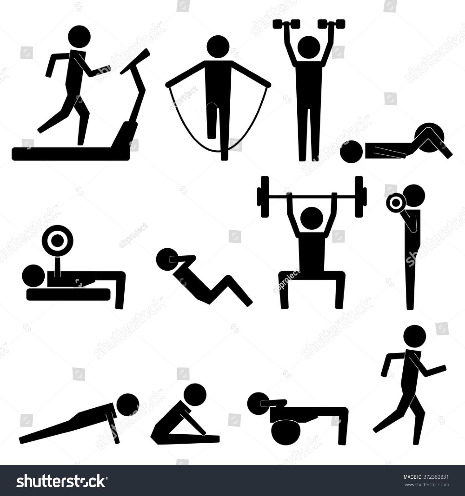 Human Stick Figure Body Exercise Icon Stock Vector