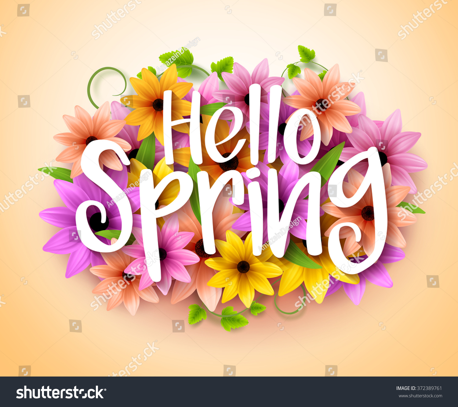 Hello Spring Poster Design Realistic Colorful Stock Vector Royalty