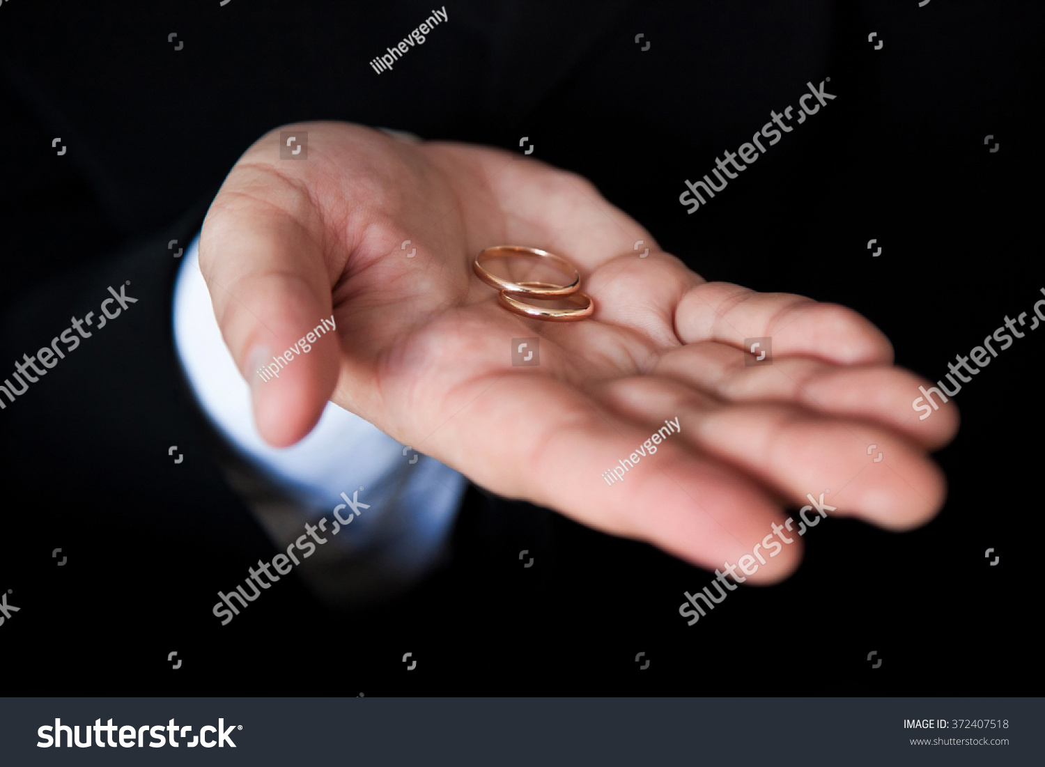 Gold Wedding Ring Mans Hand Groom Stock Photo (Royalty Free ...