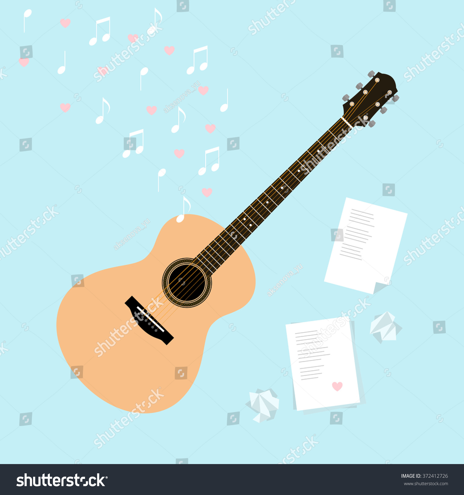 Vector Valentineu0027s Day Template Cards With Serenade. Flat Style  Illustration With Guitar, Music,