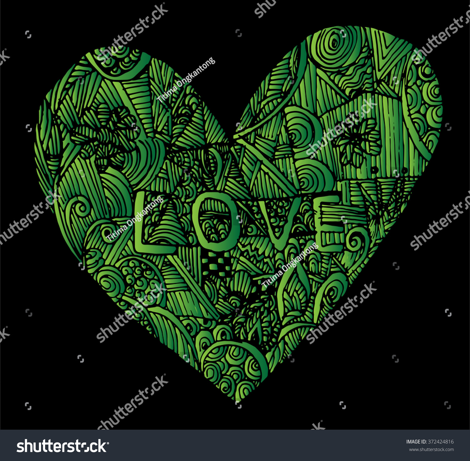 Coloring Page Heart St Valentines Day Stock Photo (Photo, Vector ...