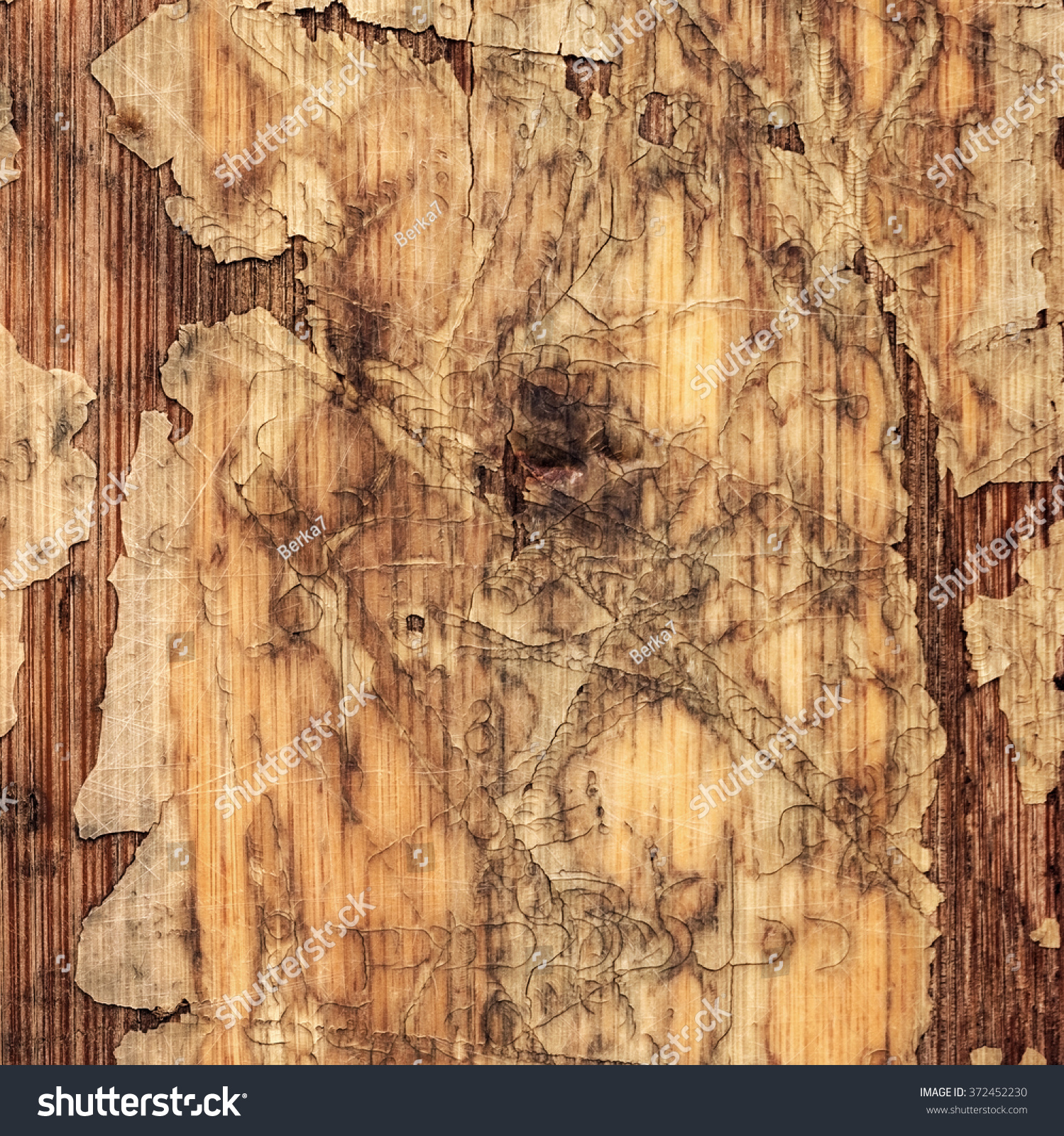 Laminate Floor Peeling Part - 49: Old Laminated Flooring Varnished Wood Block-board, Cracked Scratched Peeled  Grunge Texture.