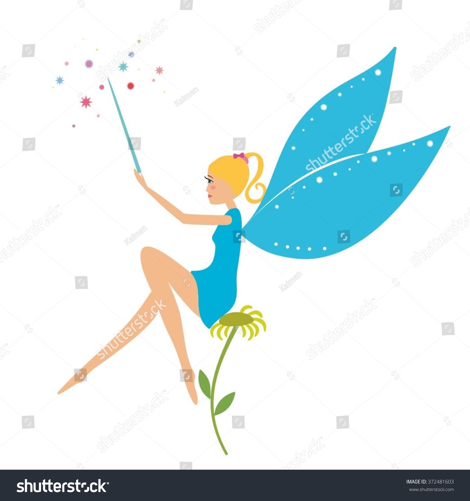 Cartoon Fairy Magic Wand Sitting On Stock Vector (Royalty Free ...
