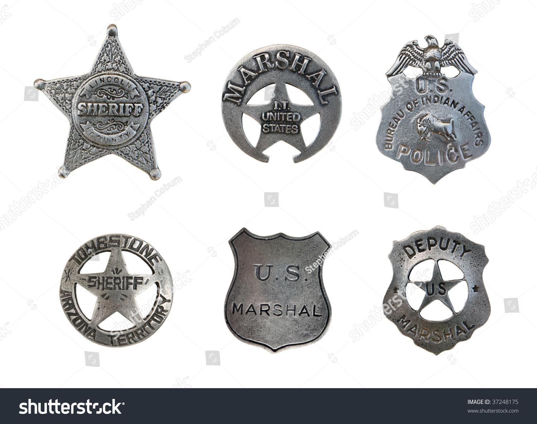 vintage old sheriff marshall police badges stock photo 37248175