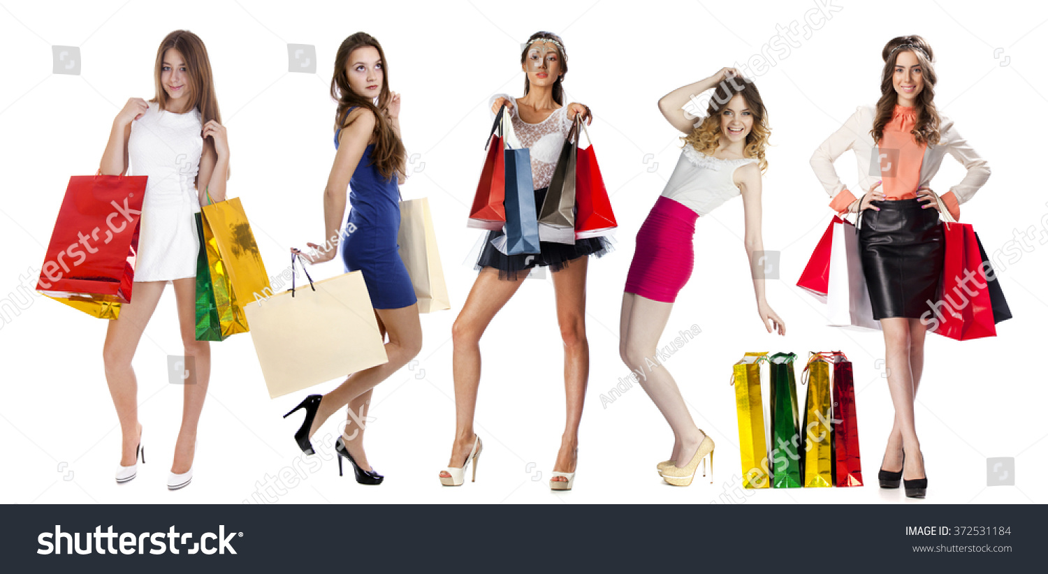 Woman posing with shopping bags isolated on white background full - Collage Shopping People Full Length Portrait Of A Beautiful Young Women Posing With Shopping Bags