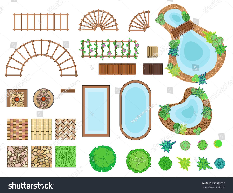 Landscape garden elements landscaping elements vector for Garden design elements