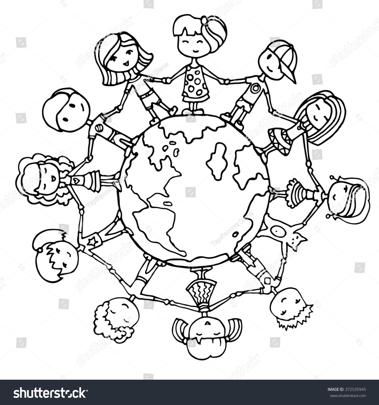 children around world kids around world stock vector 372535945