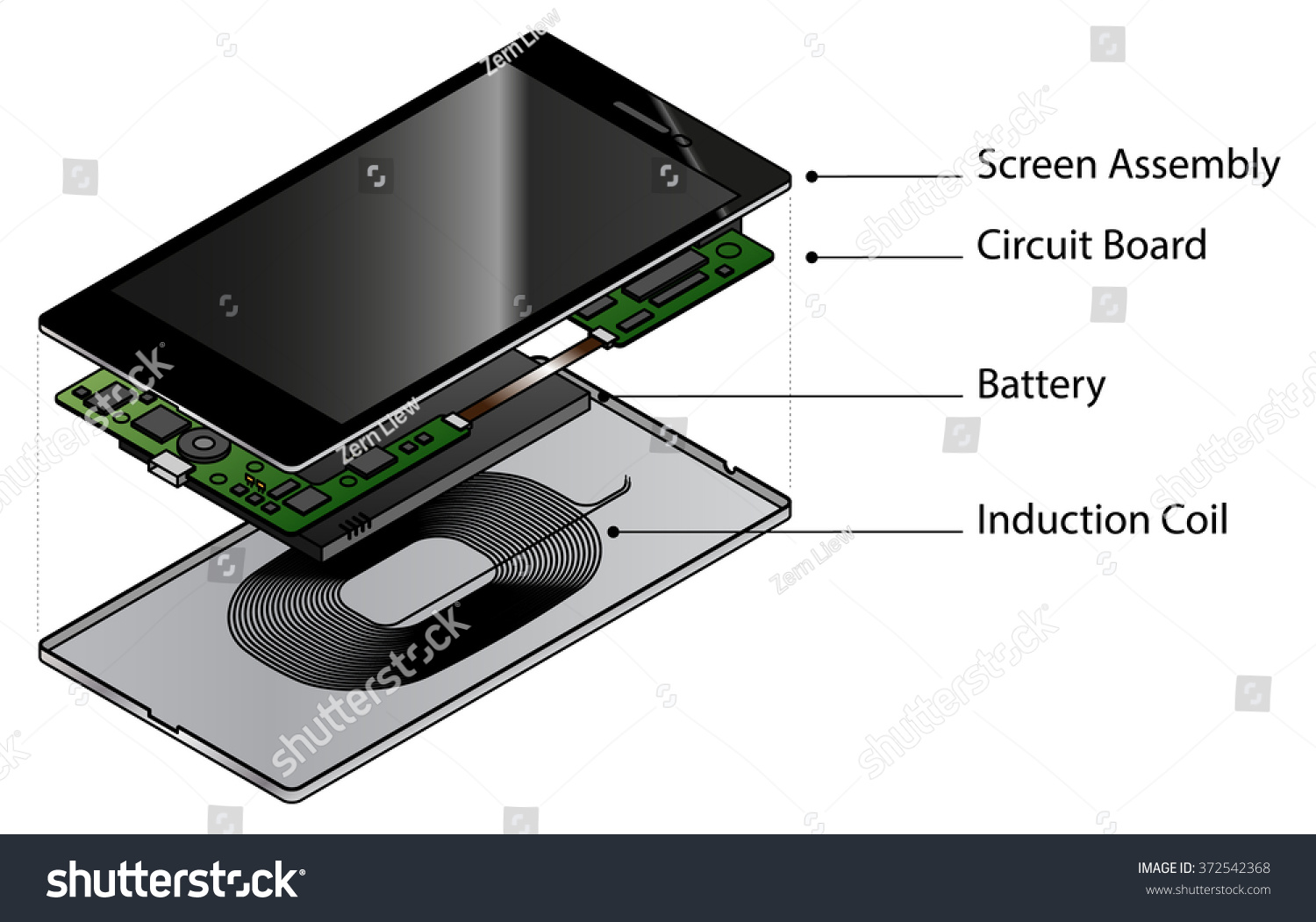 Exploded Diagram Showing Internal Components Smart Stock Vector Of A Battery An The Phone With Wireless Charging Induction