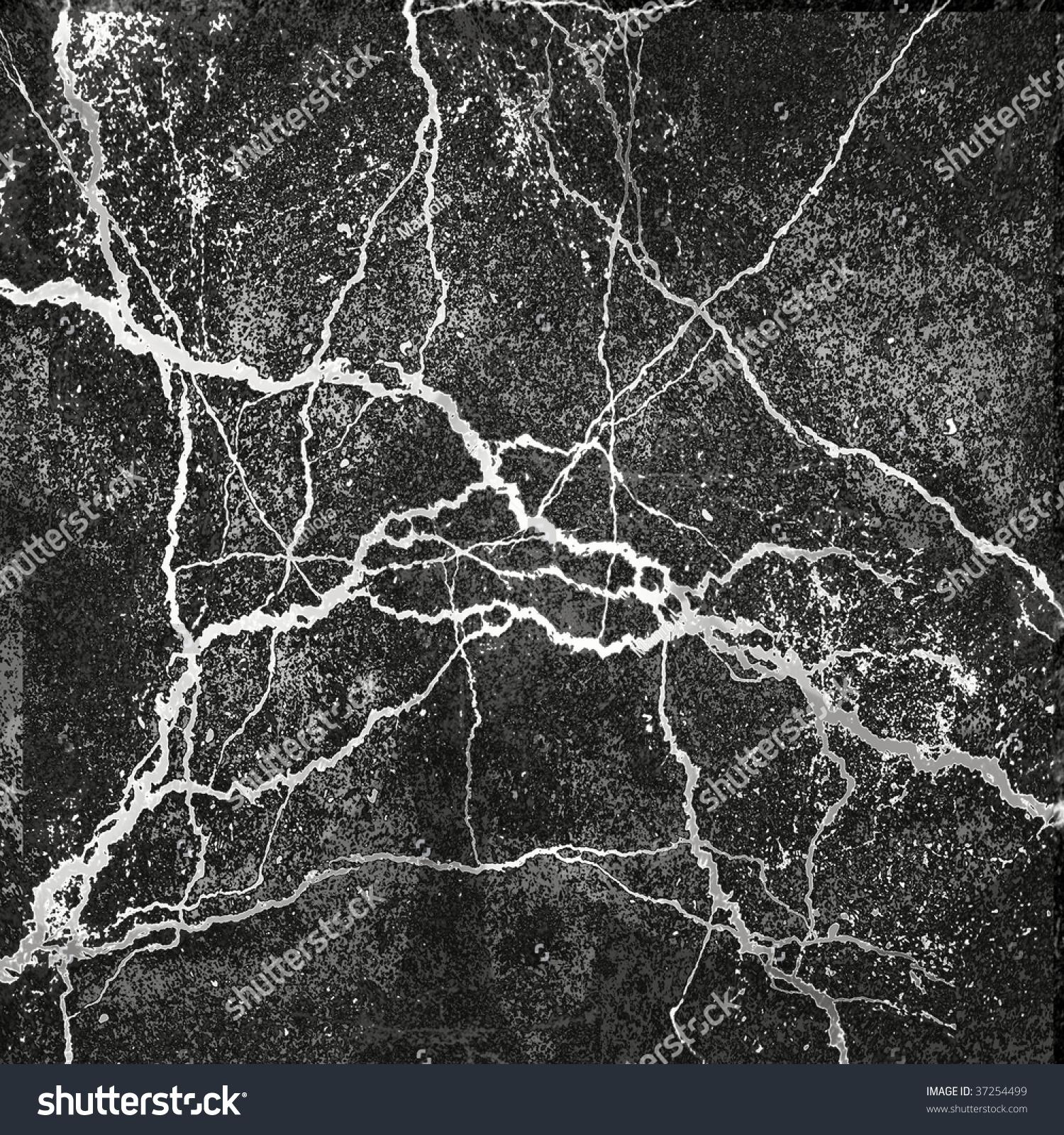 Marble Texture White Veins On Black Background Stock