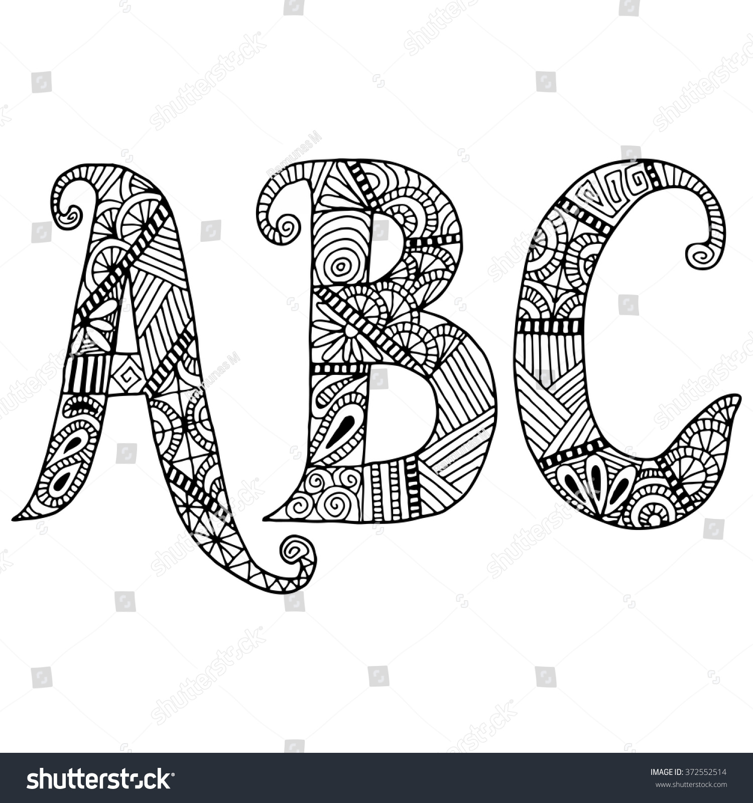 abc letters zentangle pattern coloring book stock vector 372552514