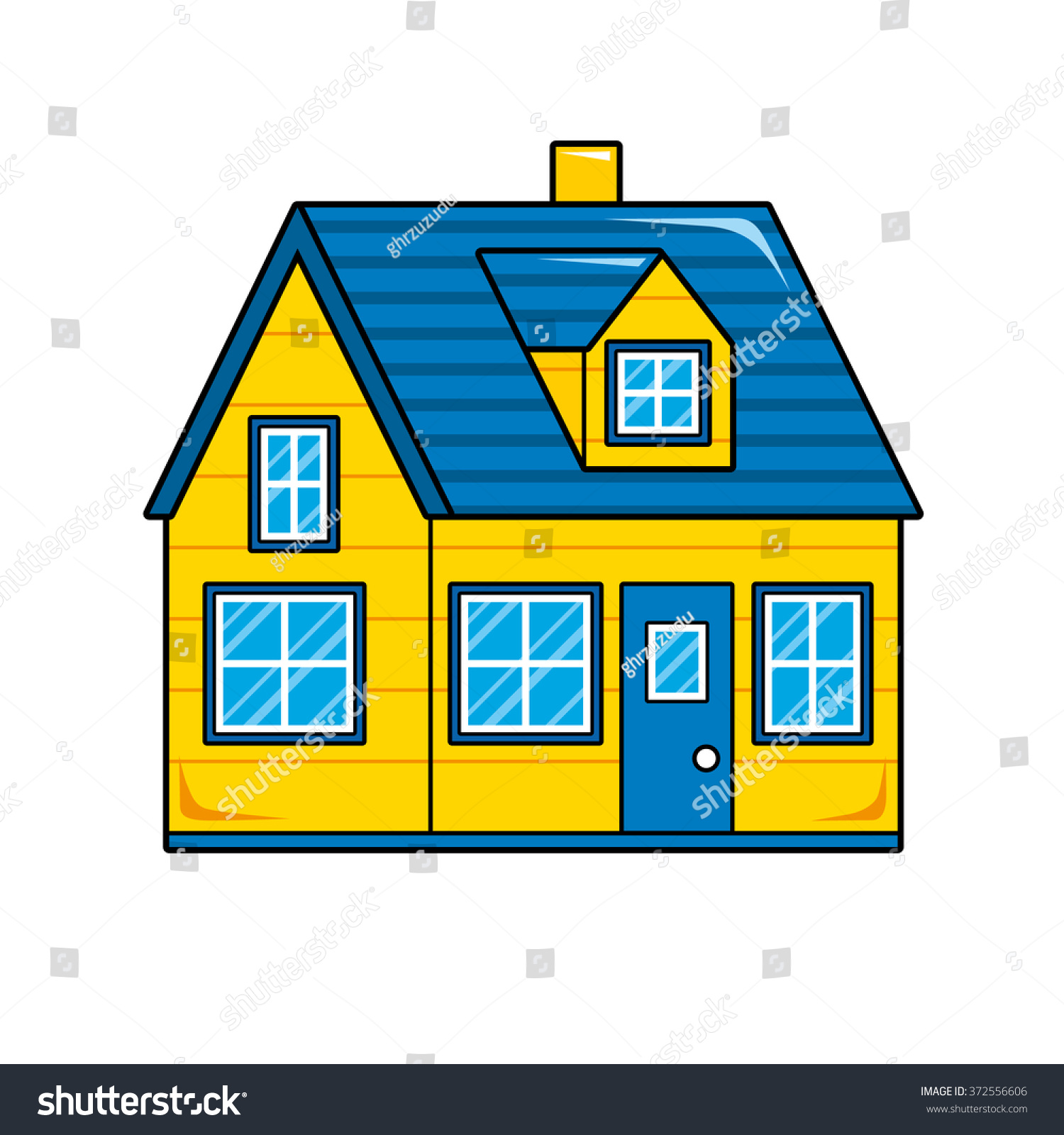 Yellow House Blue Roof Stock Vector 372556606 Shutterstock