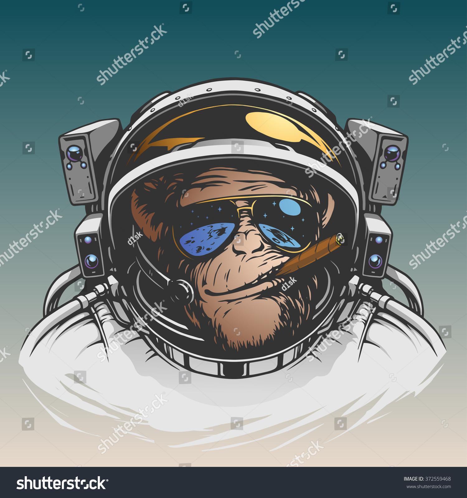 Monkey Astronaut Illustration Stock Vector 372559468 ...