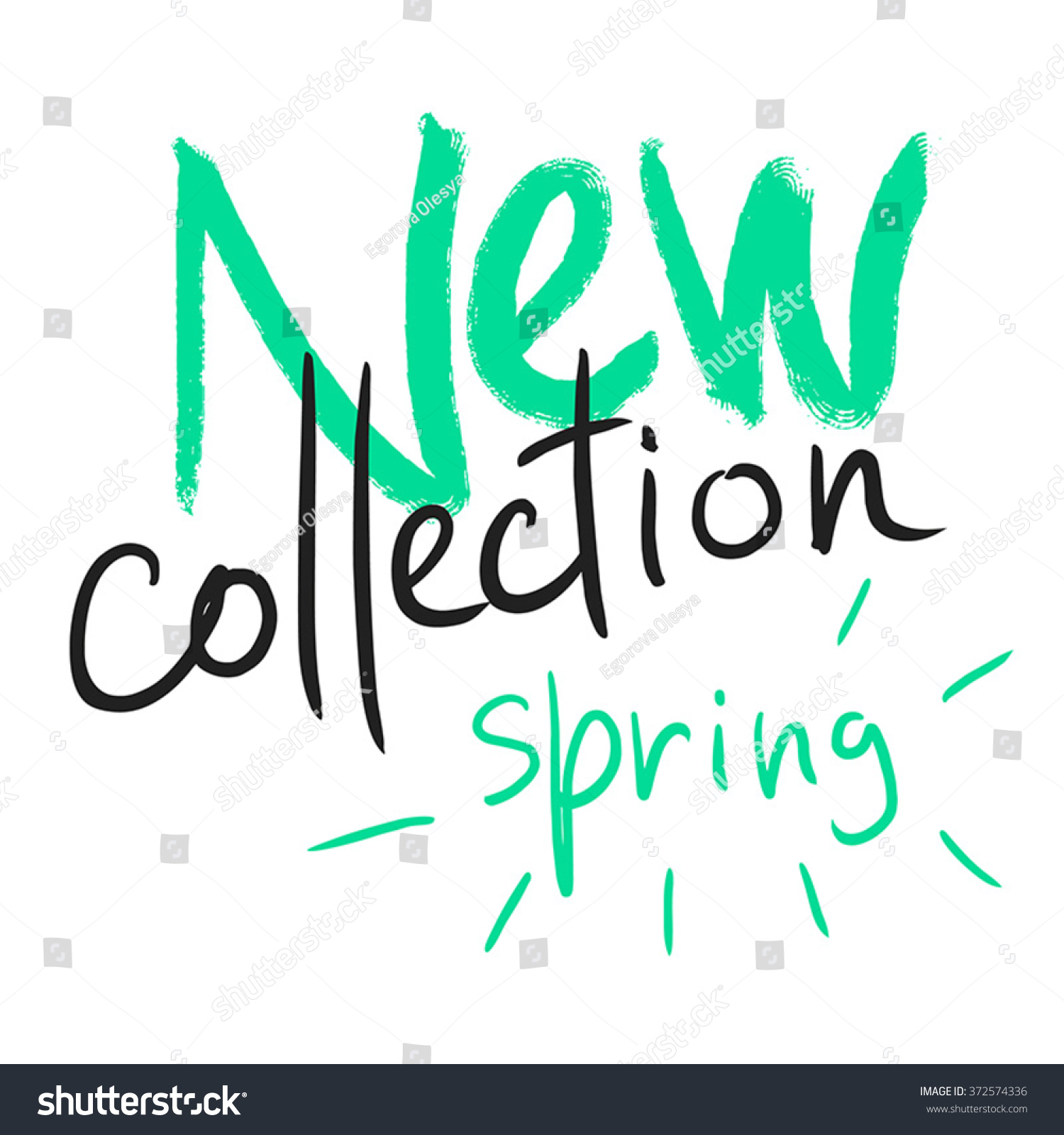 new collection spring handwritten text labels stock vector