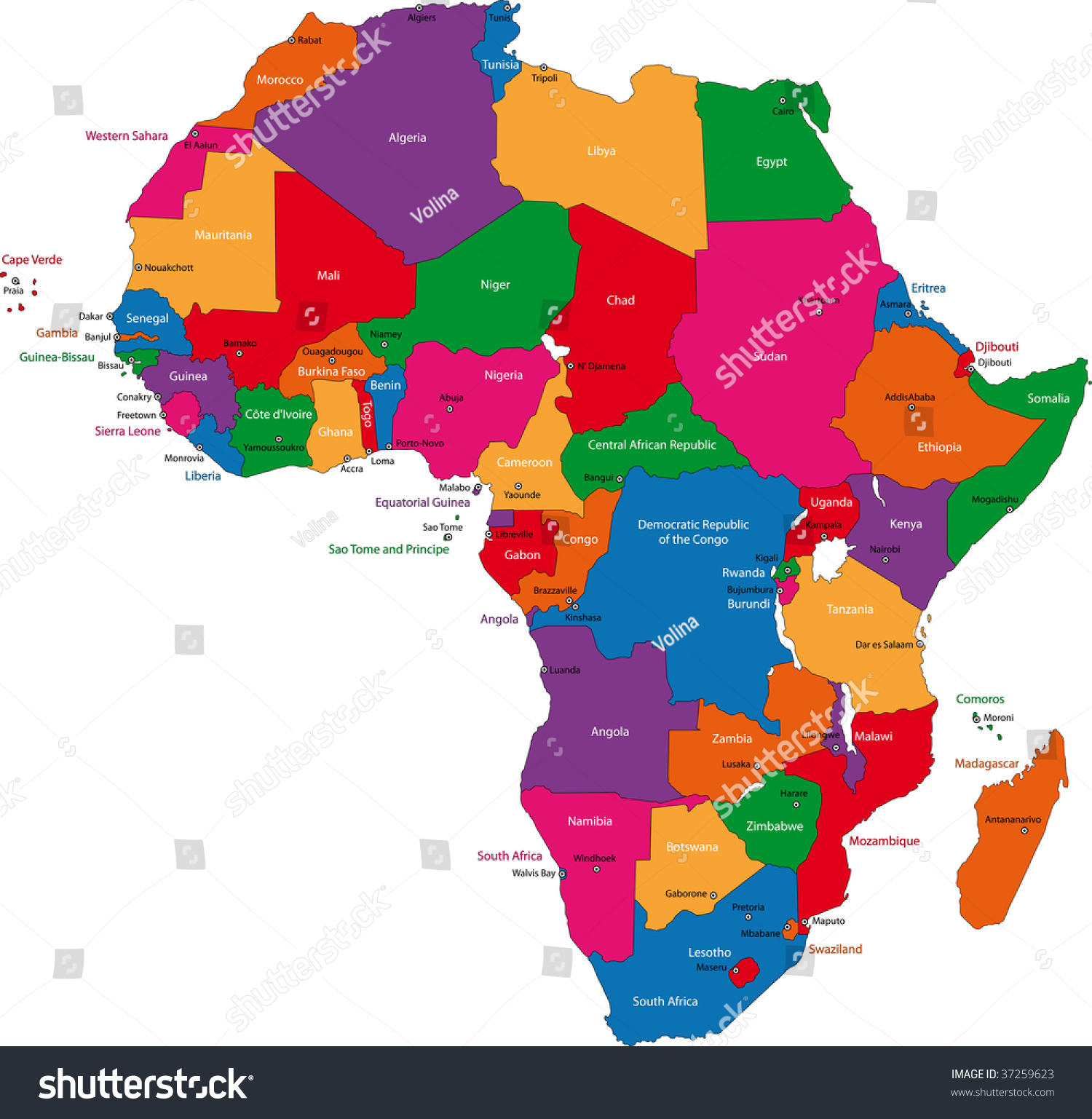 map of africa showing capital cities Colorful Africa Map Countries Capital Cities Stock Illustration map of africa showing capital cities