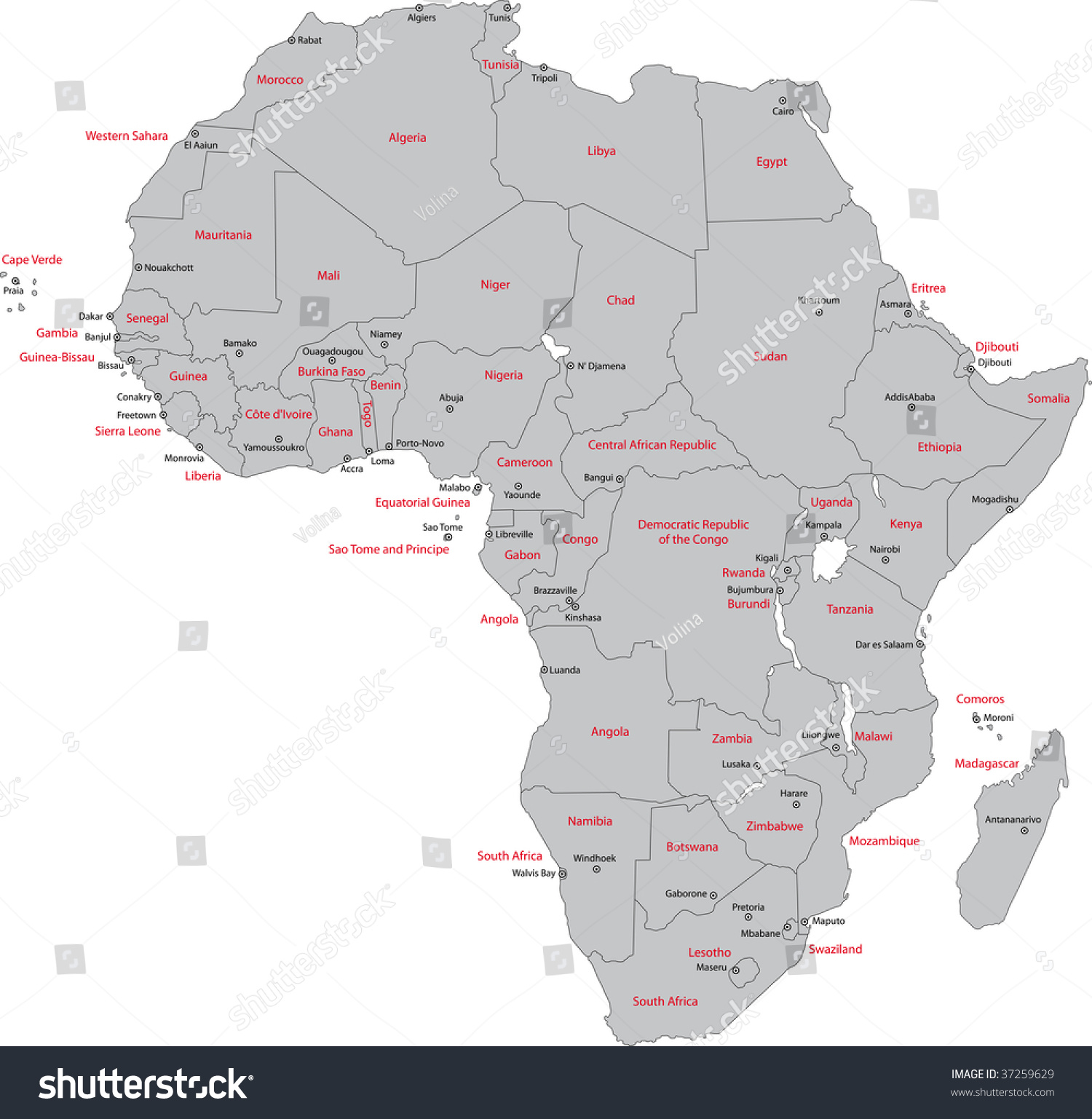 Africa map countries capital cities stock illustration 37259629 africa map with countries and capital cities gumiabroncs Image collections