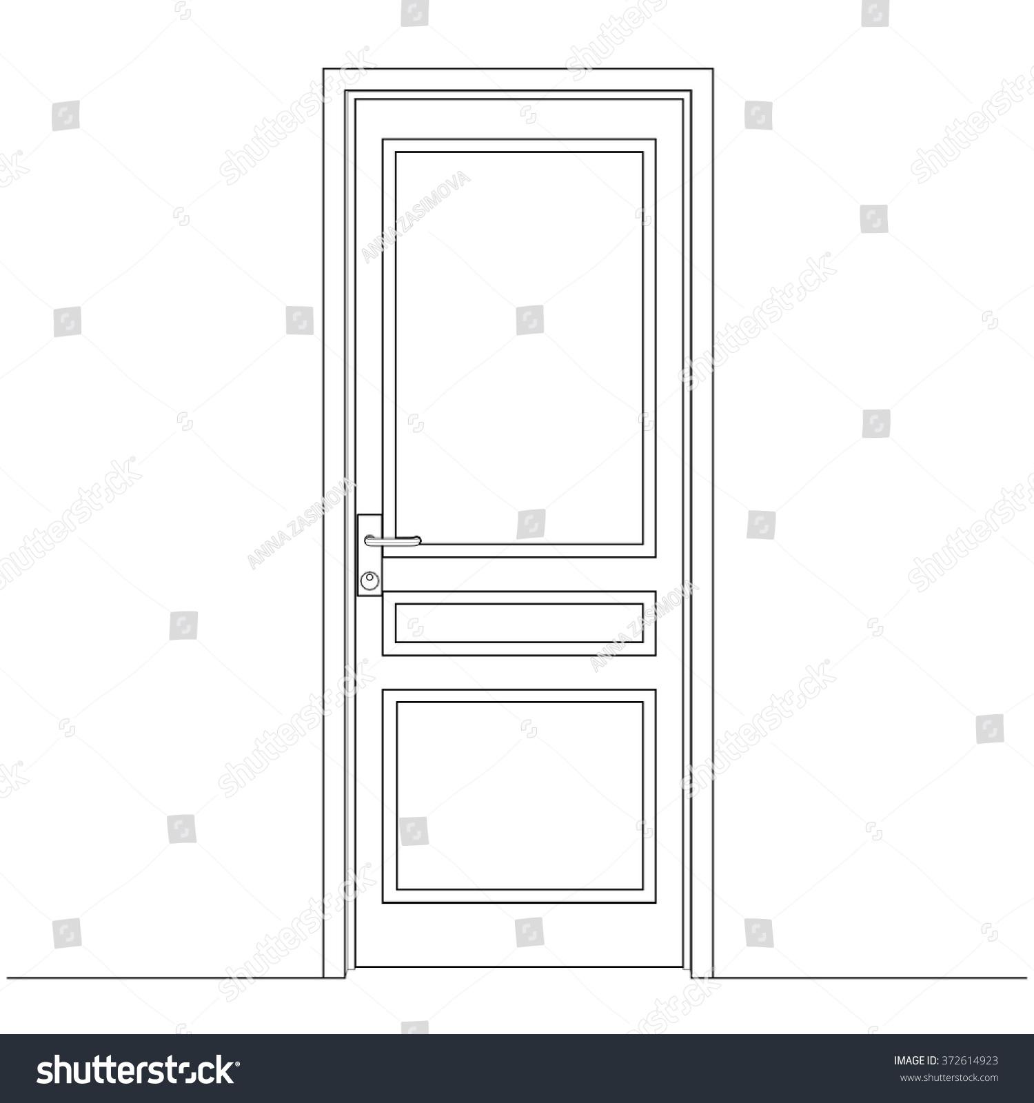 Closed Door Drawing Door Leaf Architectural Stock Vector Royalty