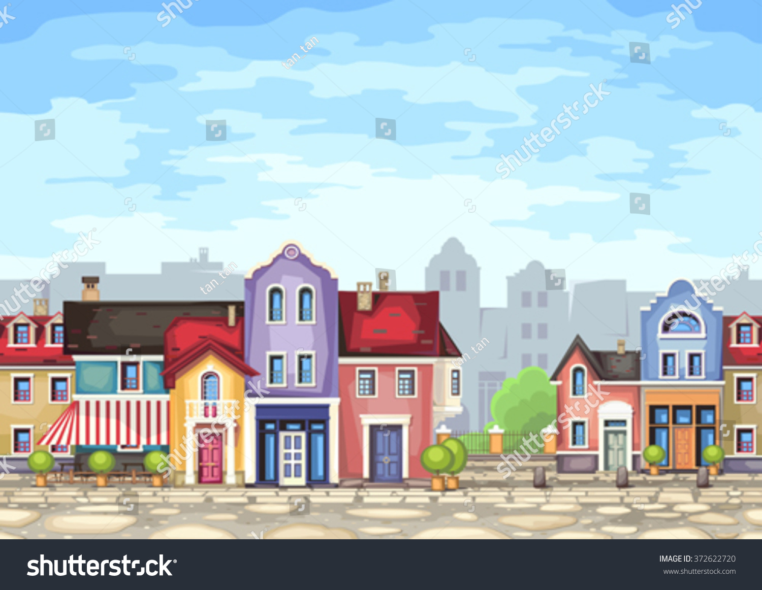 Town Landscape Vector Illustration: Small Town Street Coffee Shopvector Illustration Stock