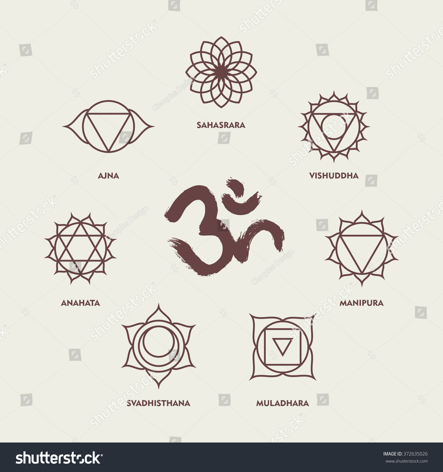Set Chakra Yoga Symbols Simple Outline Stock Vector 2018 372635026