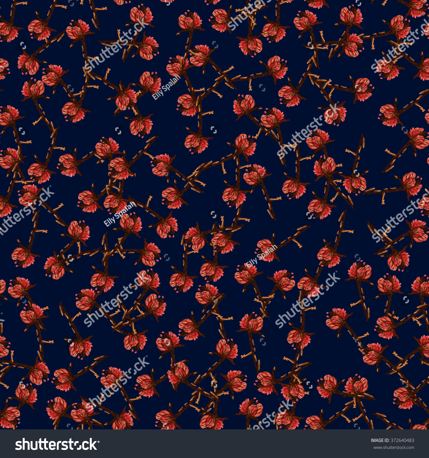 Seamless raster floral pattern on midnight stock illustration seamless raster floral pattern on midnight blue background pink red spring flowers on brown izmirmasajfo