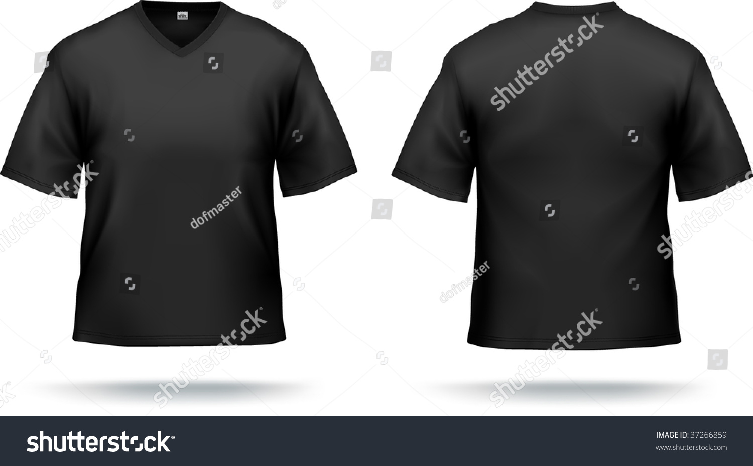 Black T Shirt With Triangle Collar Can Be Used As Design
