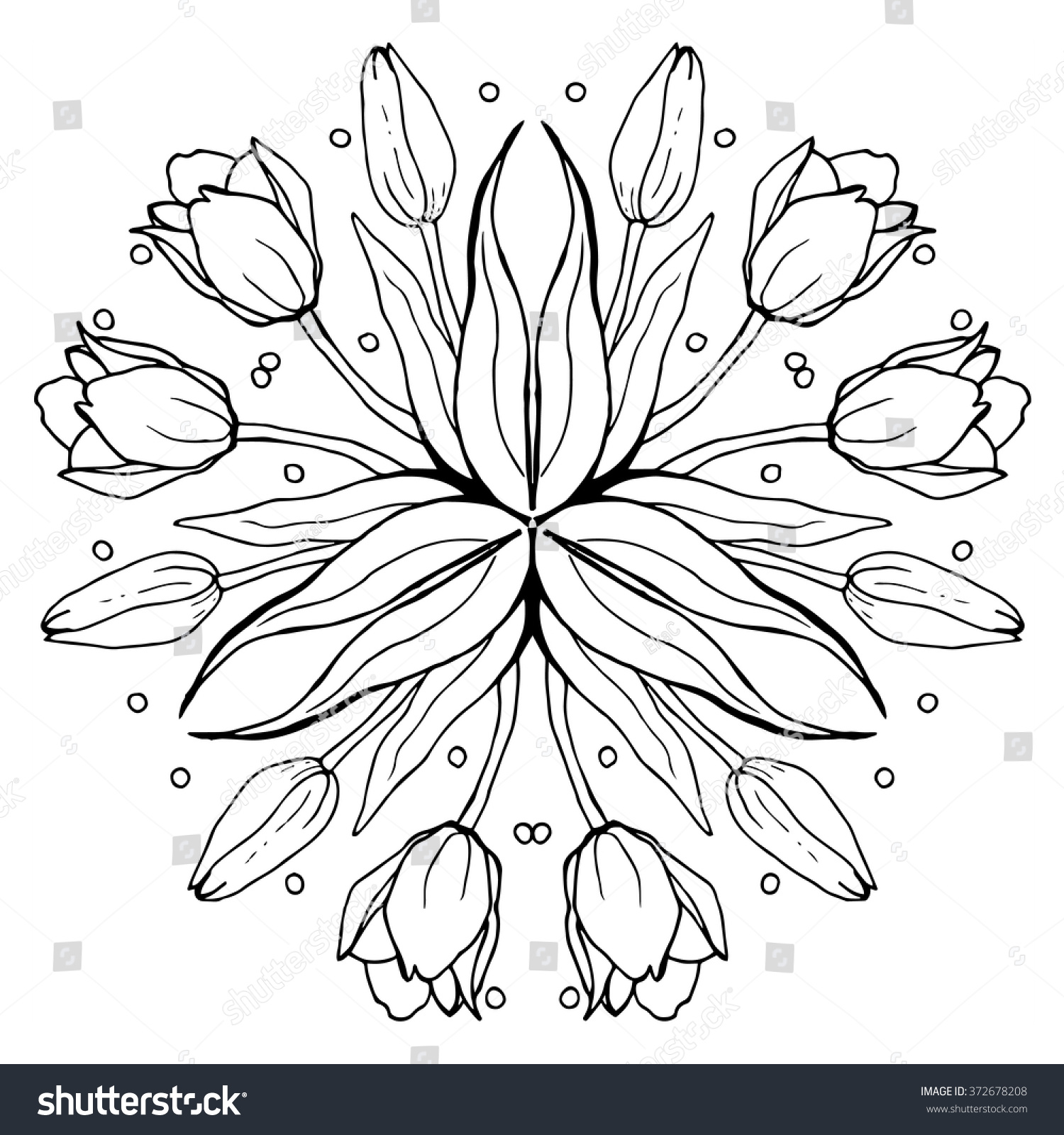 Tulip Flower Mandala Kaleidoscopic Effect Illustration Hand Drawn Adult Coloring Page Of Tulips Black And