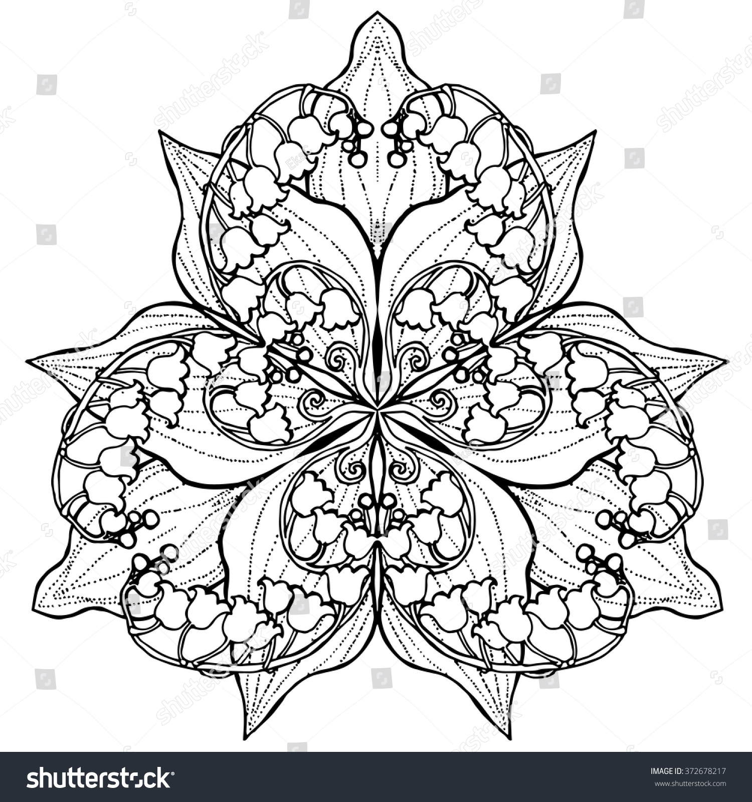 lily valley posy flower mandala coloring stock vector 372678217