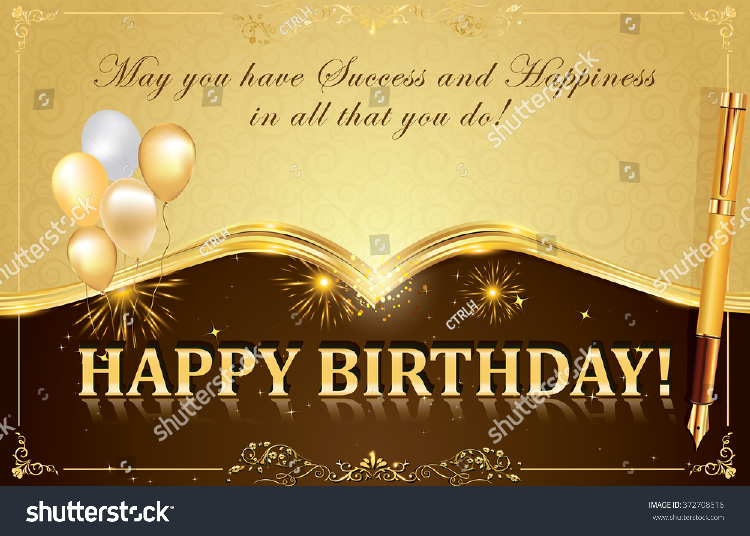 Happy Birthday Card Fireworks Balloons Pen Illustration – Birthday Card for Colleague