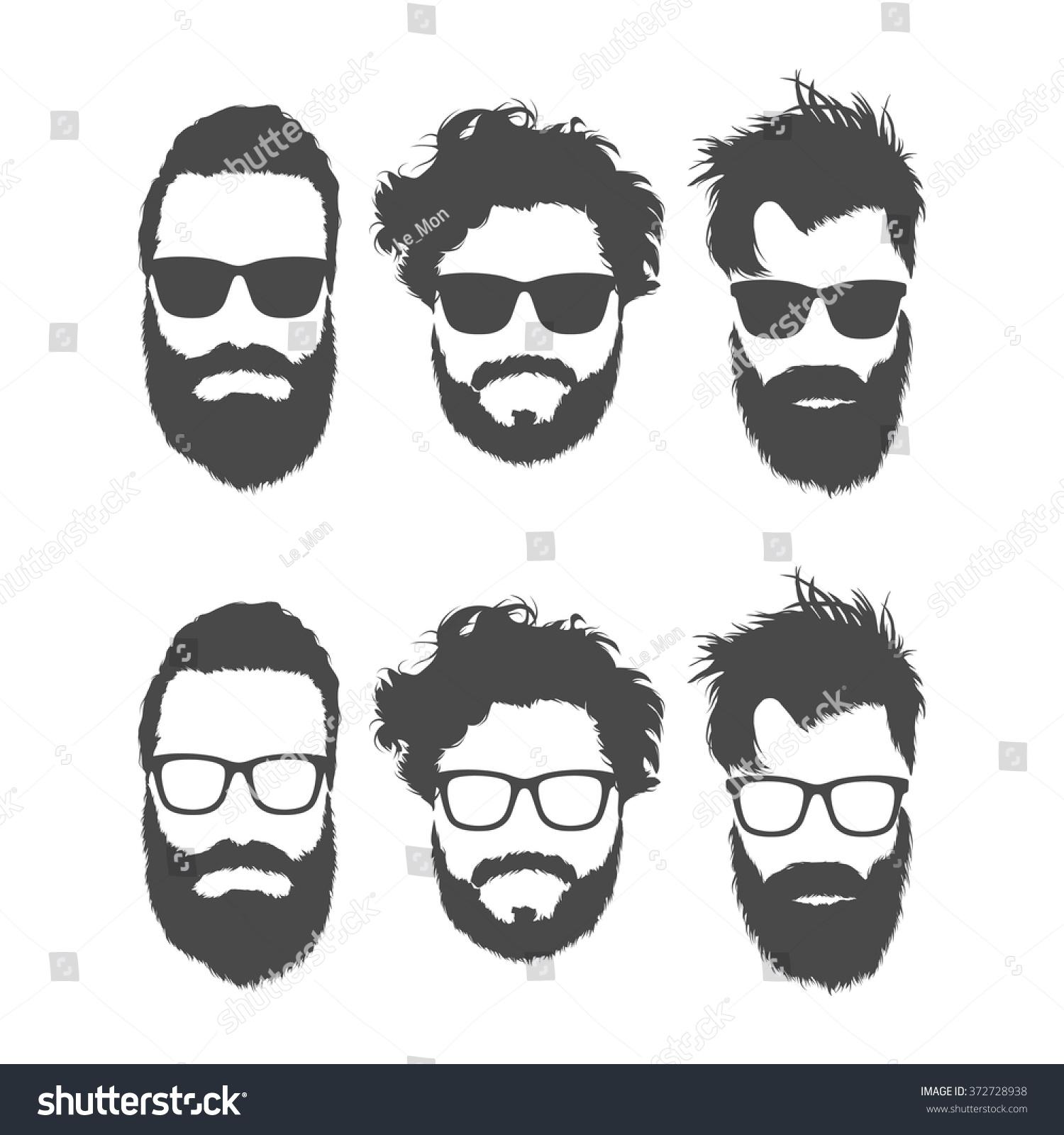 silhouettes of bearded men in glasses stock vector