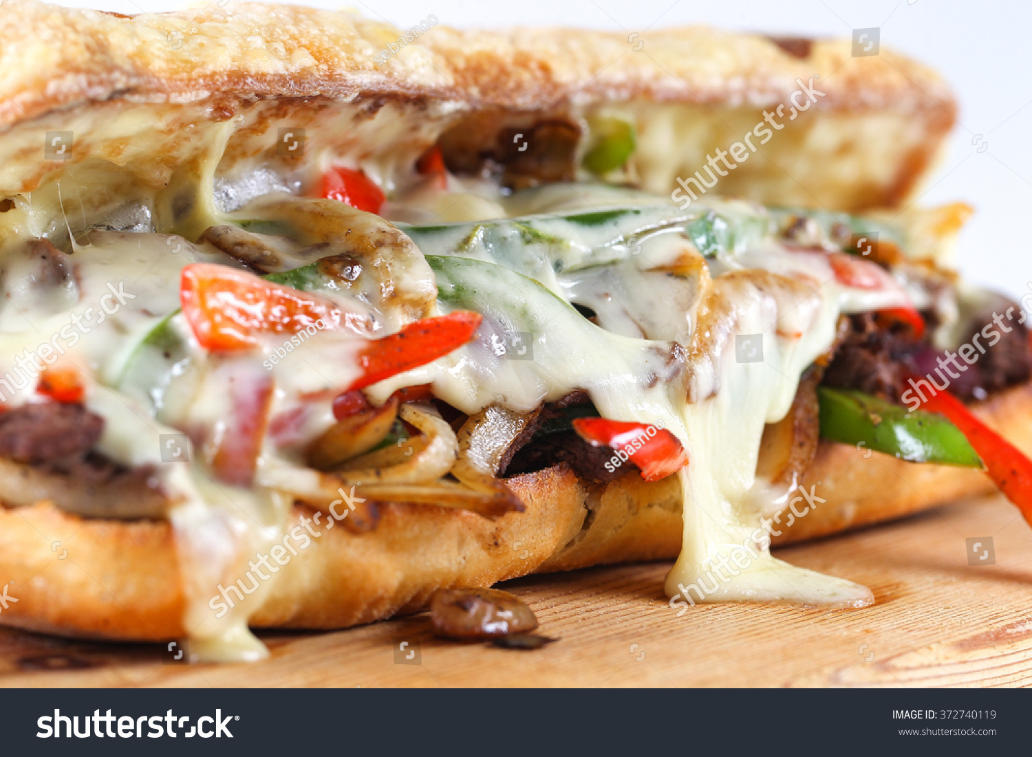 Tasty Beef Steak Sandwich Onions Mushroom Stock Photo ...