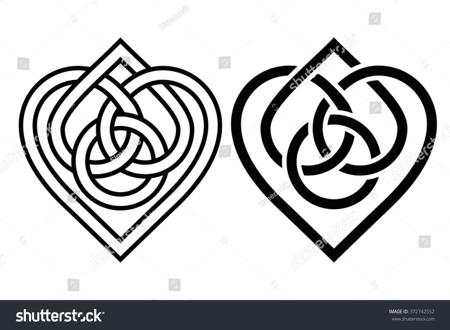 Intertwined heart celtic knot two variants stock vector 372742552 intertwined heart in celtic knot two variants biocorpaavc Gallery