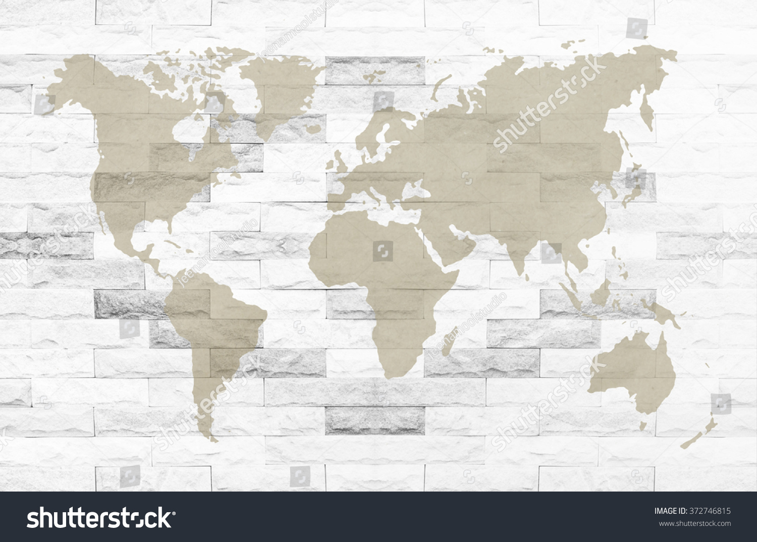 White brick wall texture background world stock photo royalty free white brick wall texture background with world map on brown recycle paper concept green world gumiabroncs Gallery