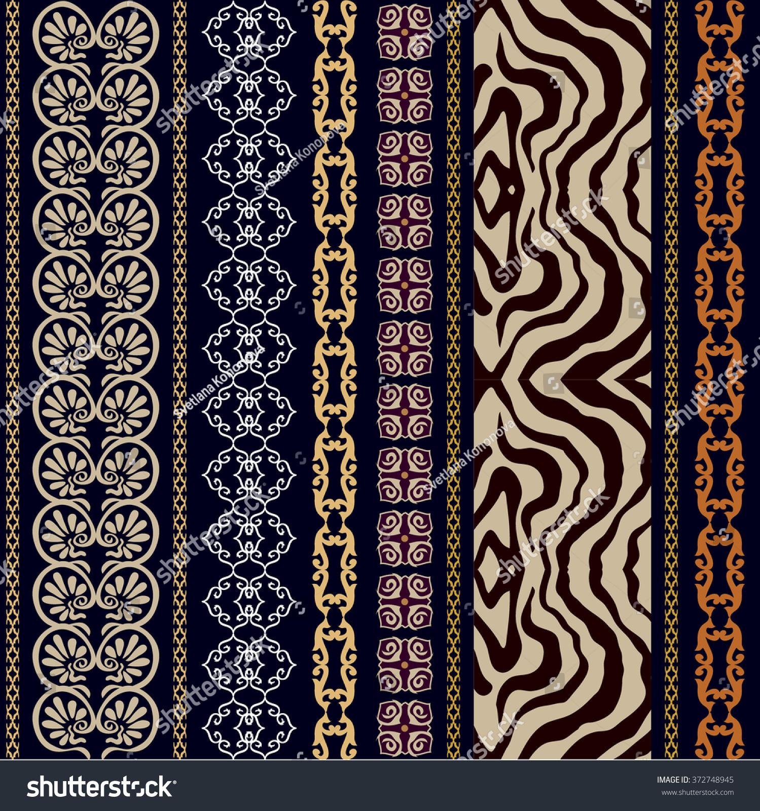 Seamless Silk Wallpaper Vintage Ancient Meander Stock Vector