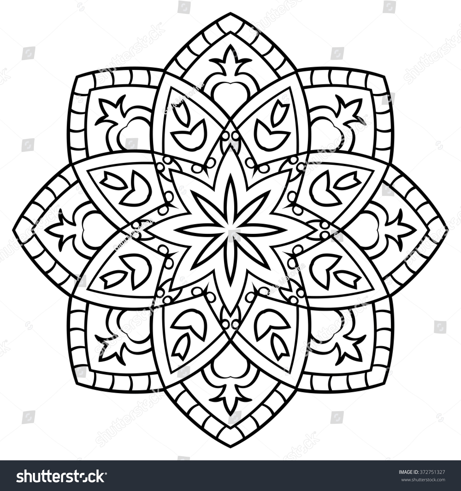 Simple Contour Mandala On White Background Stock Vector