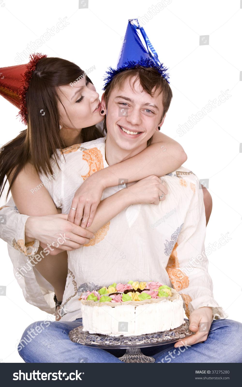 Girl Birthday Hat Kiss Man Cake Isolated Stock Photo Edit Now