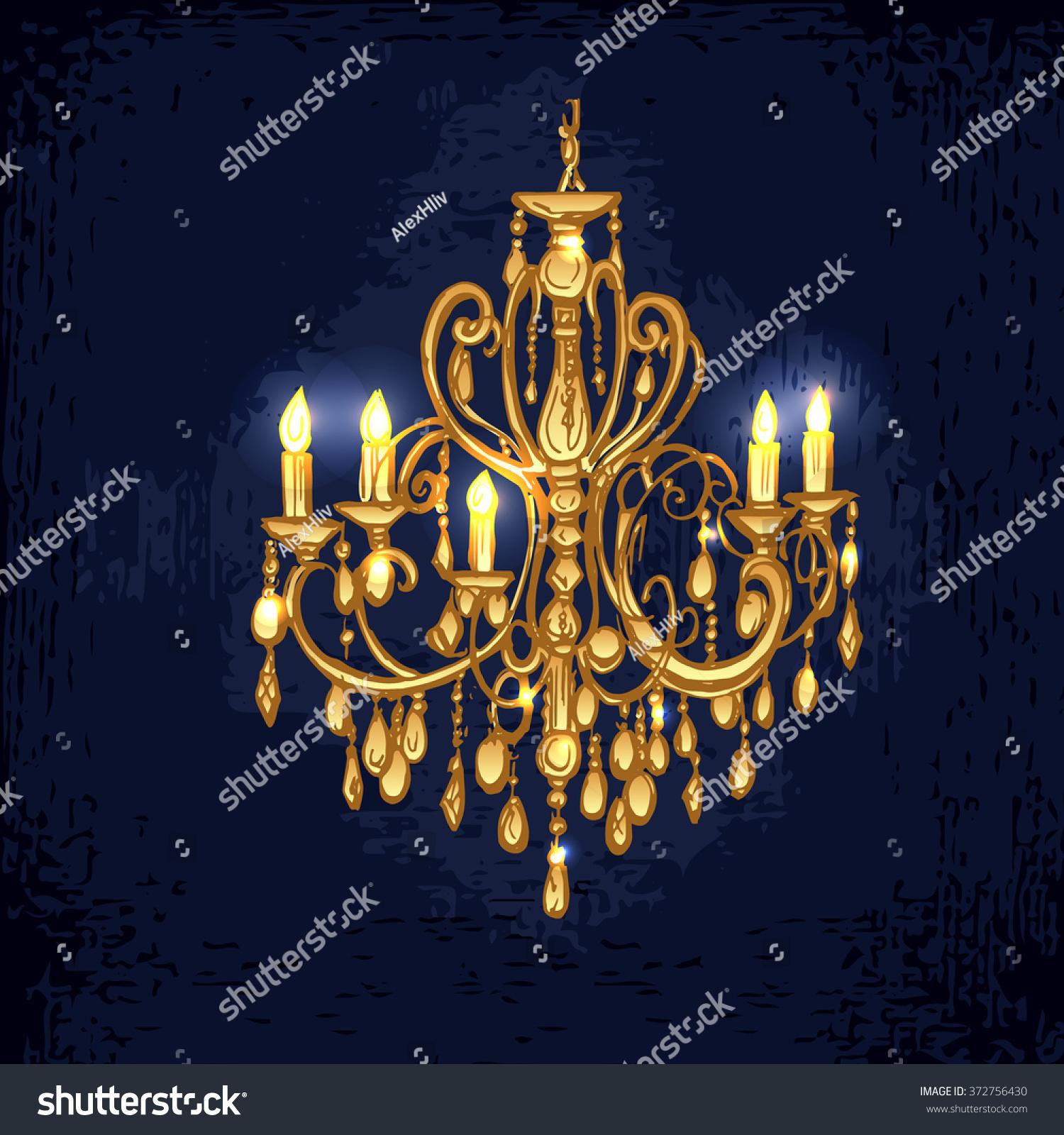 Golden chandelier hand drawn chandelier dark stock vector golden chandelier hand drawn chandelier in dark room vector chandelier chandelier with candles arubaitofo Gallery
