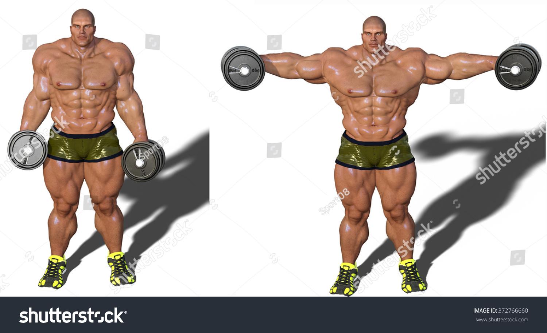 Digital Bodybuilder Exercising His Deltoids Muscles Stock