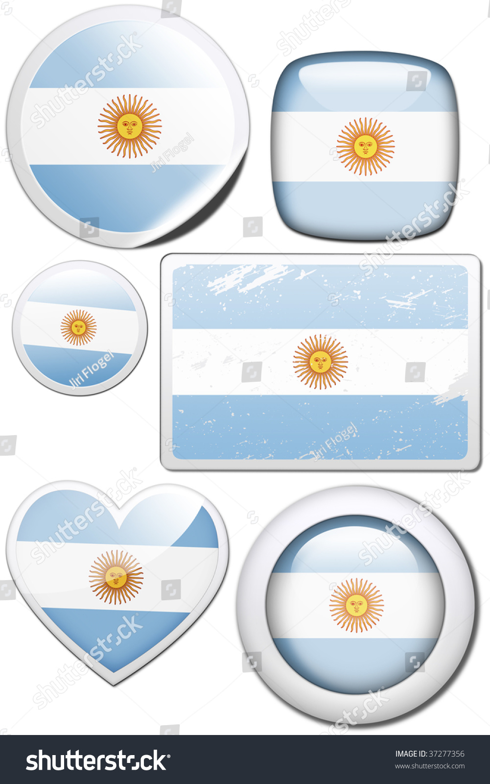Set of stickers and buttons argentina