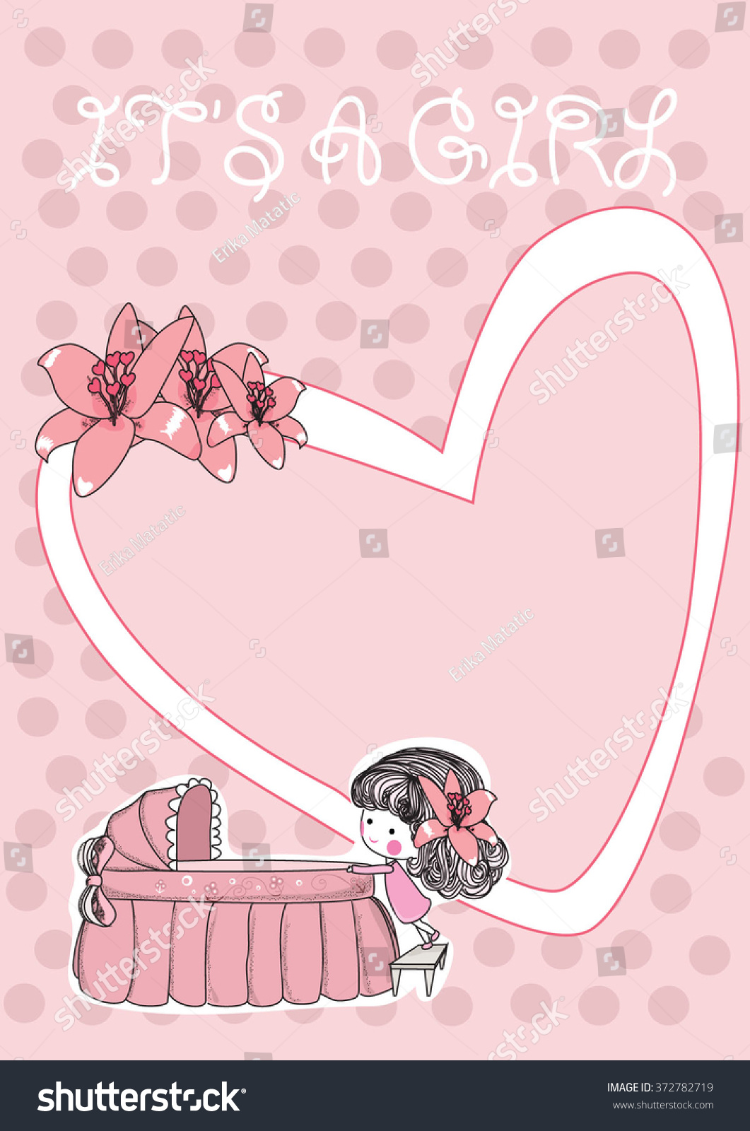 Girl Baby Born Greeting Card Vector Stock Vector Royalty Free